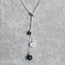 Glass Beads Hanging Green Pendant Silver Tone Chain Slide Necklace Adjustable