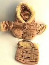 Build-A-Bear Workshop gold winter coat bomber jacket and matching bag with fur
