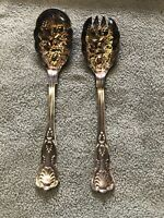 Antique William Adams Sheffield England Silver Plate Gilt Wash Salad Spoon Set