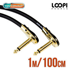 "1m 1/4"" Pancake Right Angle Guitar Effect Patch Cable - Van Damme Cable"