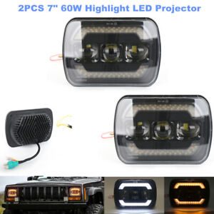 """7"""" 60W Highlight LED Projector Halo Headlights Automobile Daytime Running Lamp"""