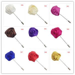 10pc silk Rose Flowers Corsage Grooms Best men Boutonniere pin Wedding Flow DIY