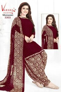 Bollywood Unstitched Salwar Kameez Patiala Crepe Synthetic Asian Indian Ethnic