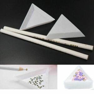 Triangle Tray & Wax White Gem Crystal Rhinestones Bead Picker Pencil Nail Tools