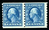 USAstamps Unused FVF US 1913 Washington Perf 8.5 Coil Pair Scott 396 OG MNH