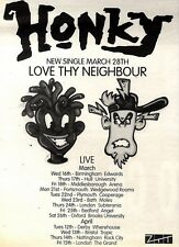 "NEWSPAPER CLIPPING/ADVERT 2/4/94PGN42 7X5"" HONKY : LOVE THY NEIGHBOUR SINGLE"