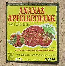 altes DDR Saft Etikett - VEB Getränke Fabrikation Salzwedel - ANANAS APFEL