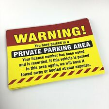 24 Private Parking Area Warning Adhesive Sticker Sign Vehicle Auto Windshield