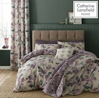 Catherine Lansfield Painted Floral Reversible Duvet Cover Bedding Set Plum