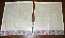 VINTAGE PAIR OF KITCHEN CAFE CURTAINS SHEER WITH BLUE RED PINK FLORAL HEM BAND