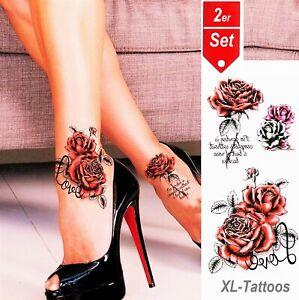 Einmal Tattoo Rose Rot (2erSet) Aufkleber Blume Temporäre Tattoos Tattoo TL-107