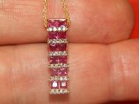14K Yellow Gold Over Effy 2.00 Tcw Diamond & Princess Cut Ruby Pendant Necklace