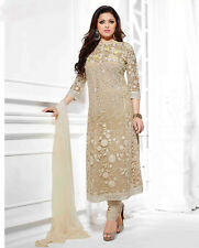WWW Eid Special Dress Com Heavy Beige Embroider Long Straight Cut Pakistani Suit