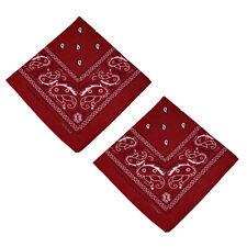"2 pcs 100% Cotton Paisley Bandanas double sided ""Burgundy"" scarf Handkerchief"
