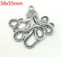 Tibetan silver octopus Charms Jewelry Crafts Pendant 20pcs