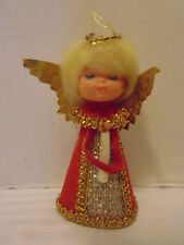 Vintage Red And Gold Cardboard Plastic Face Angel Christmas Ornament