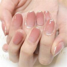 24x Golden edge Peach Color Girl Full Cover French Fake False Nails Tips Glue