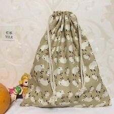 Cotton Linen Drawstring Multi-purpose Organizer ShoesBag Khaki Sheep 8123d S
