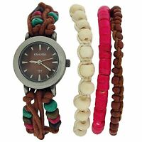 Kahuna Ladies Womens Bead Bracelet Toggle Strap Fashion Watch Xmas Gift For Her