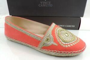 Vince Camuto Dayna Espadrille Flats Canvas / Embroidery Metallic Orange Size 7