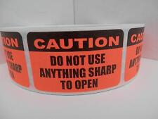 CAUTION DO NOT USE ANYTHING SHARP TO OPEN fluorescent red Sticker Label 500/rl