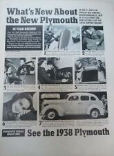 1938 Plymouth 4d Sedan - Original Classic 10x13 Vintage Advertisement Ad LG1