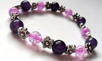 amethyst gemstone with flower charm silver bead bracelet elasticated