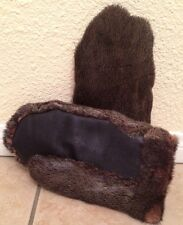 REAL BEAVER FUR MITTENS w/Leather Cold Weather Winter Men's Gloves Sz Lg RARE