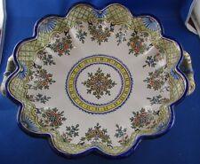 antico grande piatto fondi montagnon GM ceramica dipinto fiori anse pesce