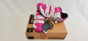 BOODUN Women's Road Pink White Bike Cycling Bicycle Shoes Size 39
