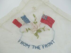 Vintage Hand Embroidered Handkerchief 'From The Front' - Unique War Memorabilia