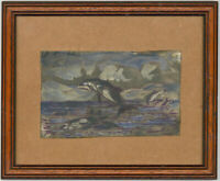 Terence Paul O'Donnell (b.1942) - Signed and Framed Oil, Killer Whales