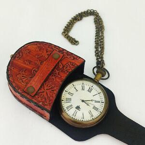 Antique Brass United States Army Pocket Watch Vintage Nautical Clock W Chain