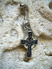14g Belly Button Navel Ring Celtic Cross Magic Black White Clear DB1 MB