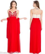 Goddiva Chiffon Embroidered Satin Long Maxi Evening Dress-scarf Prom Ball Formal 10 Red