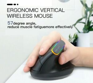 Wireless 2.4Ghz RGB Ergonomic Optical Mouse Vertical 6 Buttons PC Laptop Gaming