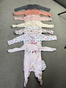 Baby Girl 0-3 Months Sleepsuit Babygrow Bundle 7 X Sleepsuits