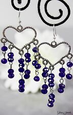 Glass Jewels Silber Ohrhänger Chandelier Perlen Herz Valentinstag Geschenk #L072