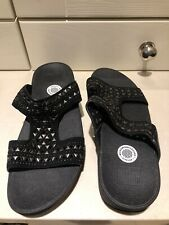 FITFLOP LADIES SUMMER SANDALS SIZE 7 UK MICROWOBBLEBOARD BLACK