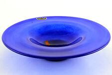 A vintage Swedish glass footed bowl M&G Hammmar Skansen Stockholm. Blue & Orange