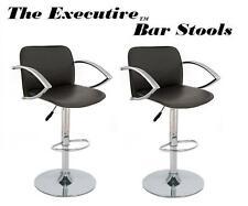 The Executive Modern Adjustable Swivel Bar Stool - Black - Set of 2