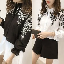 Women Fashion Embroidery Stand Collar Floral Loose Blouse Shirt Tops Summer 1PC