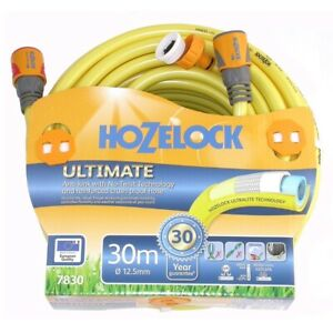 """Hozelock Ultimate Knitted YELLOW Garden Hose (1/2"""") 12.5mm x 30m fitted - 7830"""