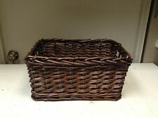 Woven Wood Wicker storage Organization Toy Laundry Bath Basket ESPRESSO 16X11X8
