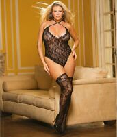 Shirley of Hollywood BLACK Lace Teddy & Thigh Highs Set, US One Size Fits Most
