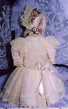 "22-23""ANTIQUE DOLL LACE DRESS BONNET/HAT PATTERN/FRENCH BEBE BRU/JUMEAU-GERMAN"