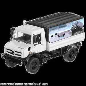 Mercedes Benz Unimog U 5023 Flatbed/Tarpaulin White 1:50 New Boxed NZG