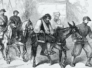 1871 Print FRANCE CIVIL WAR - WOUNDED INSURGENT PRISONER Franco Prussian War