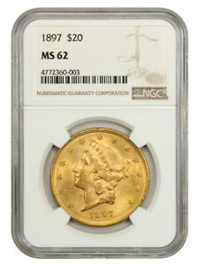 1897 $20 NGC MS62 - Liberty Double Eagle - Gold Coin