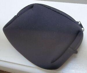 "small Black Neoprene Zip Case Pouch 5x4"""